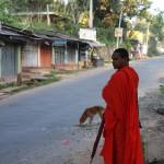 Mönch auf dem Spaziergang durch das Dorf